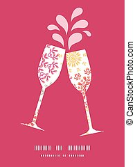 Vector folk floral circles abstract toasting wine glasses...