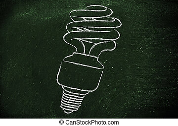 eco lightbulb, compact fluorescent bulb, for energy consumption
