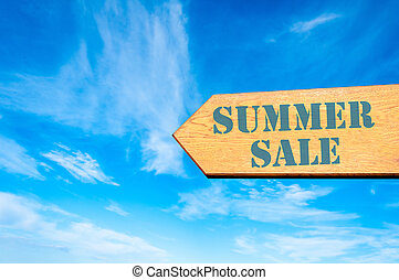 Arrow sign with Summer Sale message - Wood arrow sign...