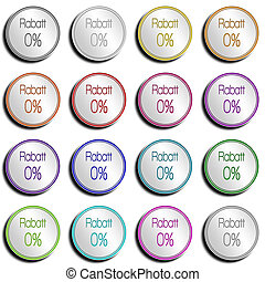 Button Minimal 0 PERCENT - Shiny metal Button with different...