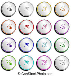 Button Minimal 7 PERCENT - Shiny metal Button with different...