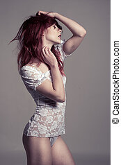 Curvy Woman in Shirt and Panties Facing Right - Portrait of...