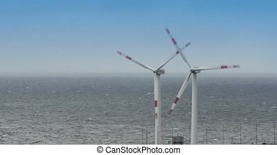4K, Windmills, Wind Turbines - Wind Energy Power Plant on...