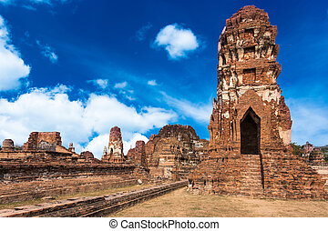 Religious architecture of The ruins of the Jedi or pagoda at...