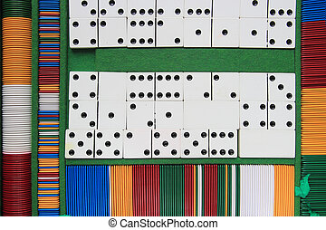 fiches and domino game - table game set, fishes and dominoes...
