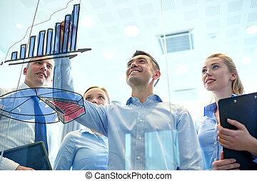 smiling business people with marker and stickers - business,...