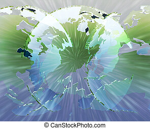Glowing international globes - Glowing translucent world map...