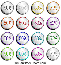 Button Minimal 50 PERCENT - Shiny metal Button with...