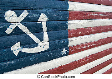 Nautical Flag - Nautical flag design painted on an old board...