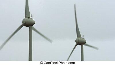 4K, Windmills, Wind Turbines - Wind Energy Power Plant on...