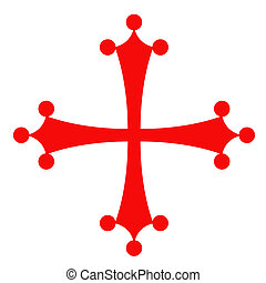 Red and White cross. City symbol of Pisa, Italy