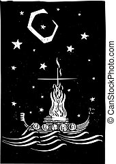 Viking Funeral at Night - Woodcut style image of a Viking...