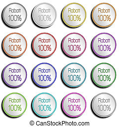 Button Minimal 100 PERCENT - Shiny metal Button with...
