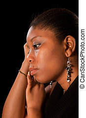 Crying african woman - Crying african ghanese young woman...