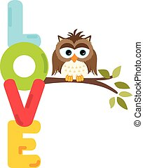 Owl on branch with love word letter