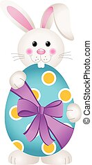 Cute bunny holding an Easter egg - Scalable vectorial image...