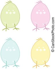 Pastel Easter Chick Label - Scalable vectorial image...