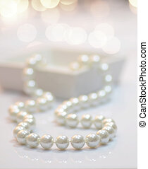 Pearl necklace - Close-up image of a pearl necklace