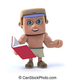 3d Bodybuilder reads a book - 3d render of a bodybuilder...