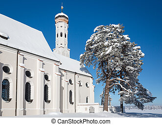 Bavarian Church at wintertime, Germany