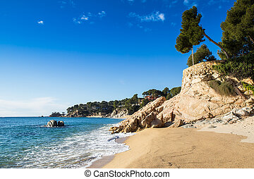Costa Brava beach - Beach landscape of Calonge, Costa Brava....
