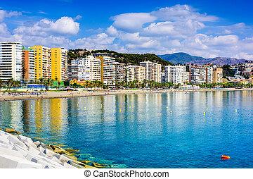 Malaga, Spain Beachfront - Malaga, Spain beachfront skyline...