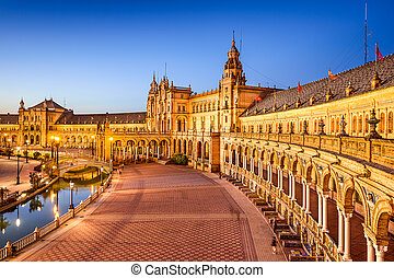 Seville, Spain at Spanish Square (Plaza de Espana).