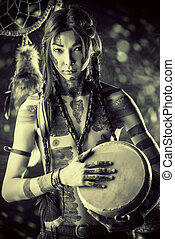 culture - Portrait of the American Indian. Ethnicity and...