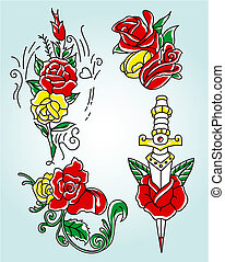 tribal rose in different style