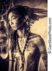 folklore - American Indian in traditional costume and...