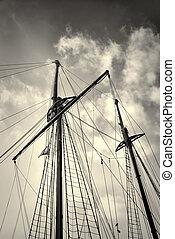 Sailboat masts - Low angle take of sailboat masts and...