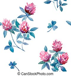 clover - Watercolor vector seamless pattern with floral...