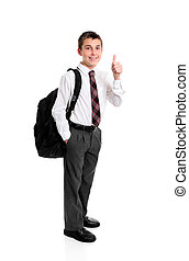 High school student thumbs up hand sign - High school boy...
