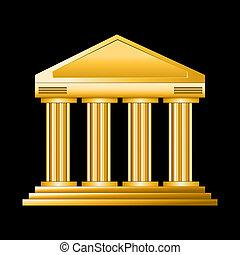 golden court isolated on dark background