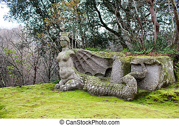 Statue Of Fury, The Park Of Monsters, Bomarzo, Italy -...