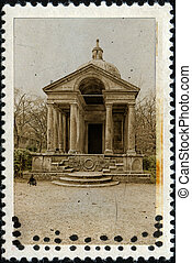 Temple Of Eternity Bomarzo On Old Stamp - Vintage stamp...