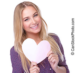 Love concept - Closeup portrait of cute blond woman with...