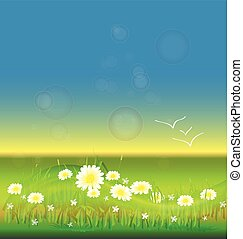 Flowers in a blue sky background