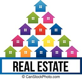 Real estate colorful houses logo - Houses colorful in tree...