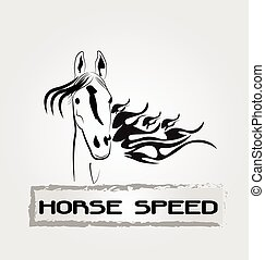 Horse speed logo - Horse in speed motion business card...