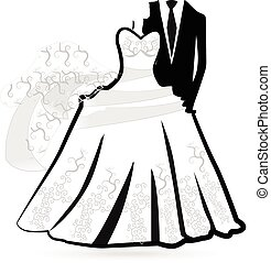 Wedding dress -bride and groom logo