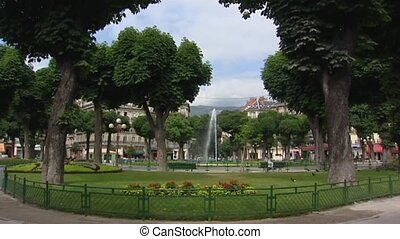 Grenoble, France: city park pan street view - Grenoble,...