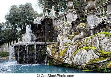 Tiber, río, estatua, chalet, Lante, Italia,