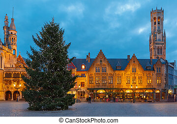 Cityscape with the Christmas Burg Square in Bruges - Scenic...
