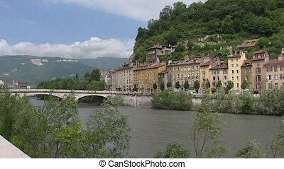 GRENOBLE, FRANCE: historical city center behind river Isere...