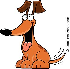 Cartoon Dog Silly - Cartoon illustration of a dog with a...