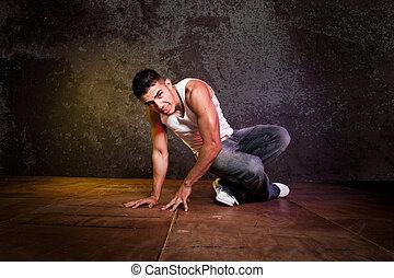 hispânico, macho, hip-hop, Dançar
