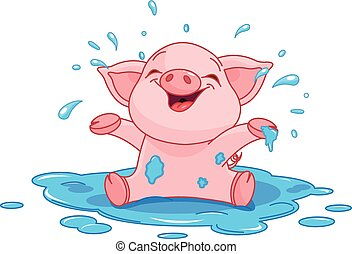 Piggy in a puddle - Illustration of very cute piggy in a...