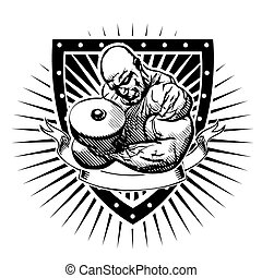 bodybuilder shield - bodybuilder vector illustration on the...