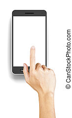 Hand clicking a generic 3d rendered smartphone with...